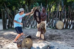 Mark stick fighting a real Zulu Warrior.