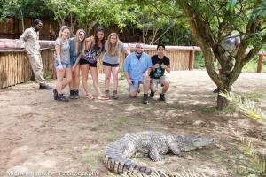 Mark, Bill, Kimberly, Lexie, Caitlin and Grace in the crocodile enclosure.