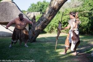 Chief Muzi (Mark) and Wandile (Bill) as Zulu warriors