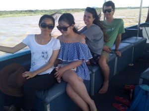 Danni, Peixi, Jemma and Dan relaxing on the boat.